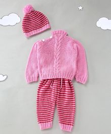 The Original Knit Full Sleeves Sweater With Cap Striped Pyjama - Pink