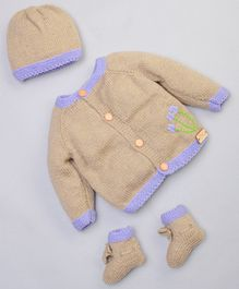 The Original Knit Flower Design Full Sleeves Sweater With Cap & Booties Set - Beige