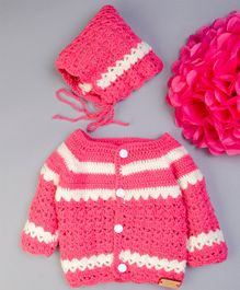 The Original Knit Full Sleeves Striped Pattern Sweater With Cap - Rose Pink