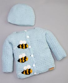The Original Knit Honey Bee Pattern Full Sleeves Sweater With Cap - Rice Blue