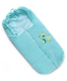 Zippered Sleeping Bag Giraffe With Bird Embroidery - Green