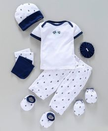 Montaly Infant Clothing Gift Set Pack of 8 - Blue White