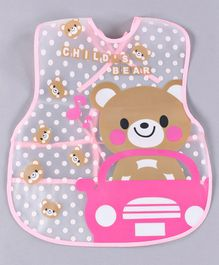 Alpaks Waterproof Apron With Pocket Bear Print - Pink