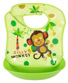 Yellow Bee Monkey Easy Clean Bib with Crumb Collector - Green