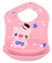 Yellow Bee Pig Easy Clean Bib with Crumb Collector - Pink