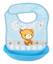 Yellow Bee Bear Easy Clean Bib with Crumb Collector - Blue