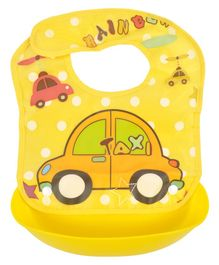 Yellow Bee Car Easy Clean Bib with Crumb Collector - Yellow