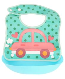 Yellow Bee Green Car Easy Clean Bib with Crumb Collector - Green