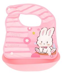 Yellow Bee Pink Rabbit Easy Clean Bib with Crumb Collector - Pink
