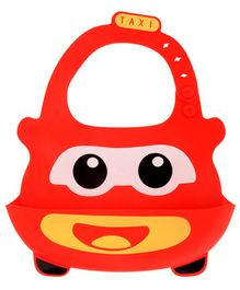 Yellow Bee Red Easy Clean Silicone Bib with Crumb Collector - Red