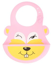 Yellow Bee Pink Easy Clean Silicone Bib with Crumb Collector - Pink
