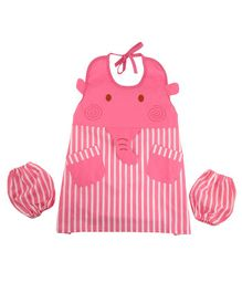 Yellow Bee Kids Elephant Mutli Purpose Art Smock with Pockets and Mittens - Pink