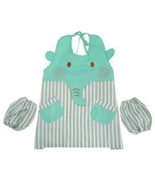 Yellow Bee Kids Elephant Mutli Purpose Art Smock with Pockets and Mittens - Green
