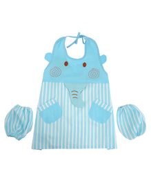 Yellow Bee Kids Elephant Mutli Purpose Art Smock with Pockets and Mittens - Blue