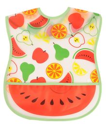 Yellow Bee Watermelon Bib with Crumb Collector - Multicolour