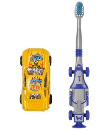 Yellow Bee Kids Racing Car Toothbrush with Toy Car - Yellow & Blue