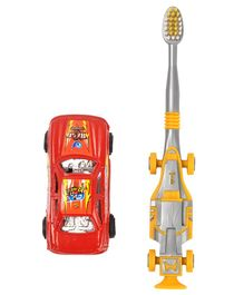 Yellow Bee Kids Racing Car Toothbrush with Toy Car - Red & Yellow