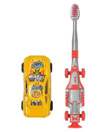 Yellow Bee Kids Racing Car Toothbrush with Toy Car - Yellow & Red