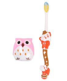 Yellow Bee Kids Elephant Toothbrush with Owl Sharpner - Multicolour