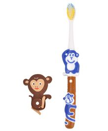 Yellow Bee Kids Monkey Toothbrush with Monkey Eraser - Blue & Brown