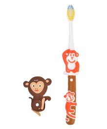 Yellow Bee Kids Monkey Toothbrush with Monkey Eraser - Red & Brown