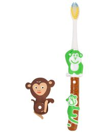 Yellow Bee Kids Monkey Toothbrush with Monkey Eraser - Green & Brown