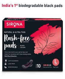 Sirona Natural Biodegradable Super Soft Black Large Sanitary and Maternity Pads - 10 Pieces