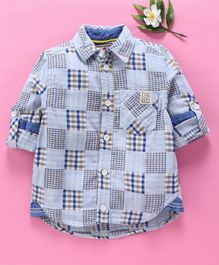 UFO Checked Full Sleeves Shirt - Blue