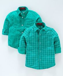 UFO Checked & Printed Full Sleeves Reversible Shirt - Green