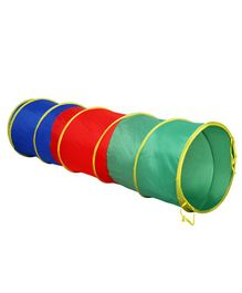 Playhood 6 Feet Long Foldable Tunnel Tent - Red, Green & Blue