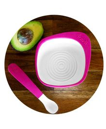 Zoli Mash Bowl With Spoon - Pink & White