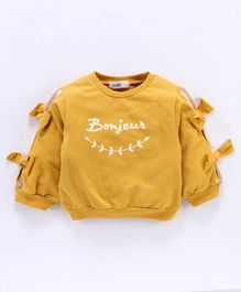 Kookie Kids Full Sleeves Tee Bonjour Print - Yellow
