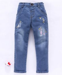 Olio Kids Full Length Denim Jeans Floral Embroidery - Light Blue