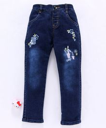Olio Kids Full Length Denim Jeans Floral Embroidery - Dark Blue