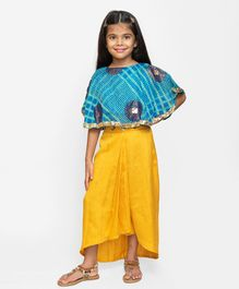 Fairies Forever Printed Half Sleeves Top With Elasticated Dhoti Skirt - Blue & Yellow