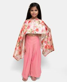 Fairies Forever Flower Printed Full Sleeves Top With Palazzo - Peach