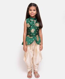 Fairies Forever Sequined Sleeveless Jacket Top With Dhoti  - Green & Off White