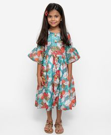 Fairies Forever Flower Printed Three Fourth Sleeves Dress - Blue