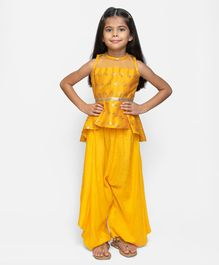 Fairies Forever Gold Butterfly Pleated Sleeveless Peplum Top With Pants - Yellow