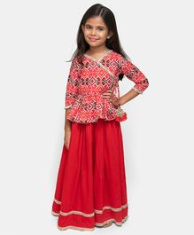 Fairies Forever Printed Three Fourth Sleeves Top With Skirt  - Red