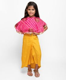 Fairies Forever Printed Half Sleeves Top With Dhoti Skirt - Yellow & Pink