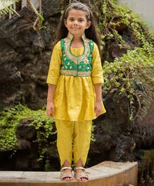 Fairies Forever Three Fourth Sleeves Kurti With Golden Flower Detailed Jacket & Salwar - Green & Yellow