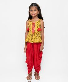 Fairies Forever Flower Printed Sleeveless Top With Pants - Yellow & Red