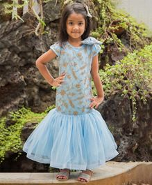 Fairies Forever Short Sleeves Golden Flower Embroidered Mermaid Dress - Sky Blue