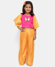 Fairies Forever Bird Embroidered Half Sleeves Top With Elasticated Pants - Pink & Orange