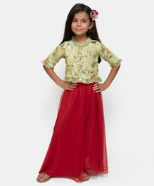 Fairies Forever Flower Patch Half Sleeves Top With Skirt - Green & Red