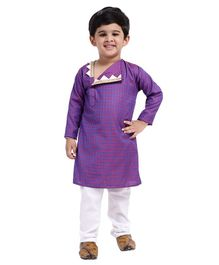 Bownbee Full Sleeves Jacquard Open Flap Kurta & Pyjama Set - Purple