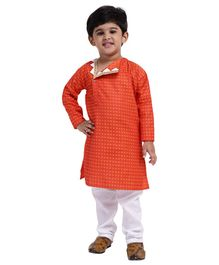Bownbee Full Sleeves Jacquard Open Flap Kurta & Pyjama Set - Orange