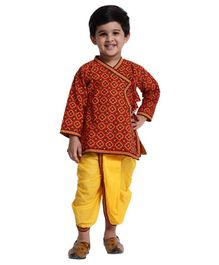 Bownbee Full Sleeves All Over Printed Kurta With Dhoti - Red & Yellow