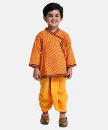 Bownbee Full Sleeves Printed Kurta With Dhoti - Orange & Yellow